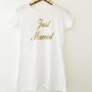 Just Married T Shirt White With Gold Lettering